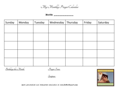 Monthly Calendar Notebook : Bible notebook prayer calendars do not depart