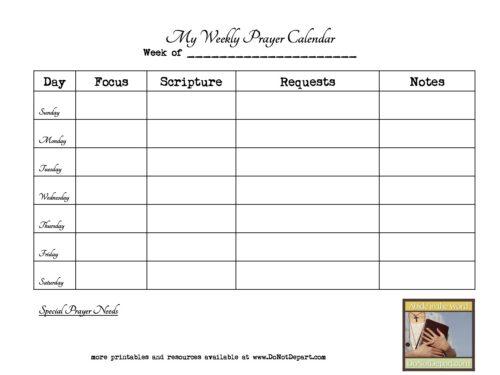 Weekly Prayer Calendar www.donotdepart.com