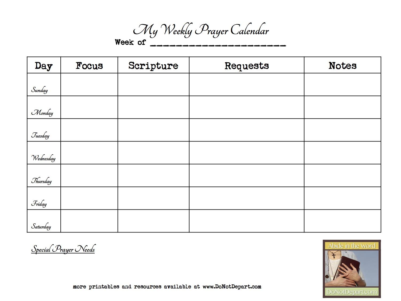 weekly prayer calendar - Do Not Depart