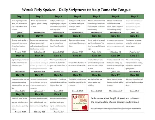 Words Fitly Spoken - Daily Scriptures to Help Tame the Tongue  {donotdepart.com}