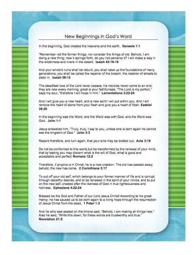 New Beginnings - scripture printable
