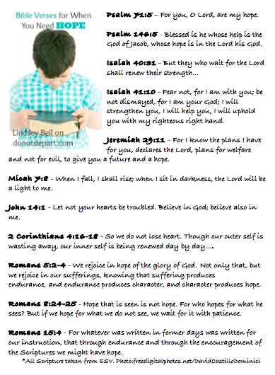 Bible Verses on Hope #printable DoNotDepart