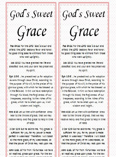 Grace Bookmark Printable at www.donotdepart.com