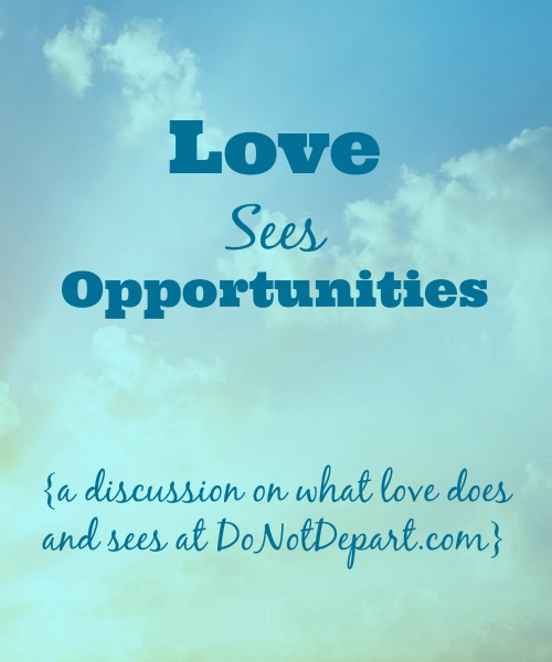 Love Sees Opportunities {DoNotDepart.com}