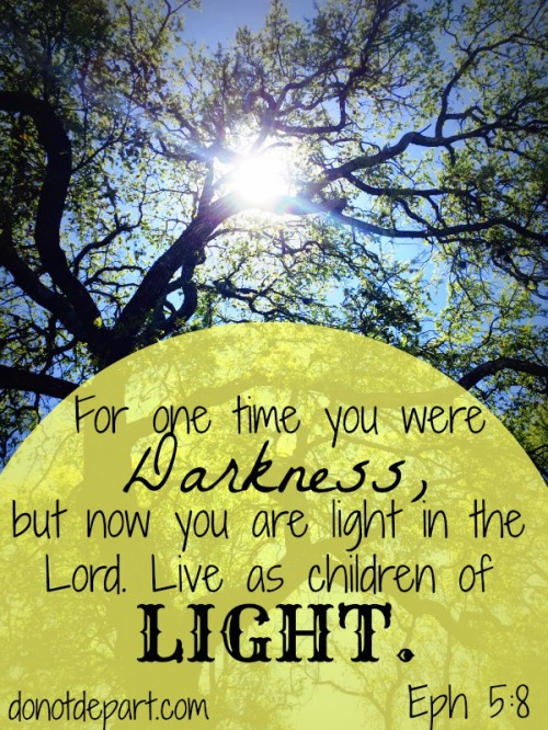 Live as children of Light Eph 5:8 A shareable Scripture graphic from DoNotDepart.com