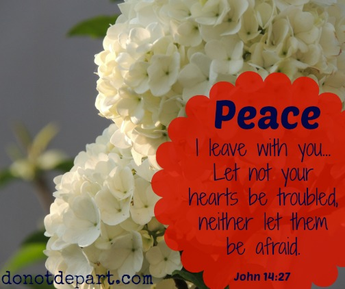 John 14:27 Peace I leave with you... let not your heart be troubled.  Shareable Christian graphic at donotdepart.com