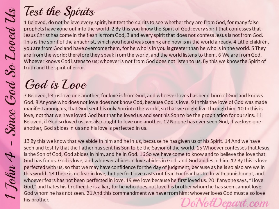 1 John 4 free Scripture Image at DoNotDepart.com #SinceGodLovedUs