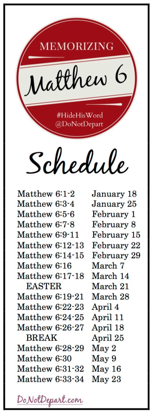 Schedule Memorizing Matthew 6_DoNotDepart