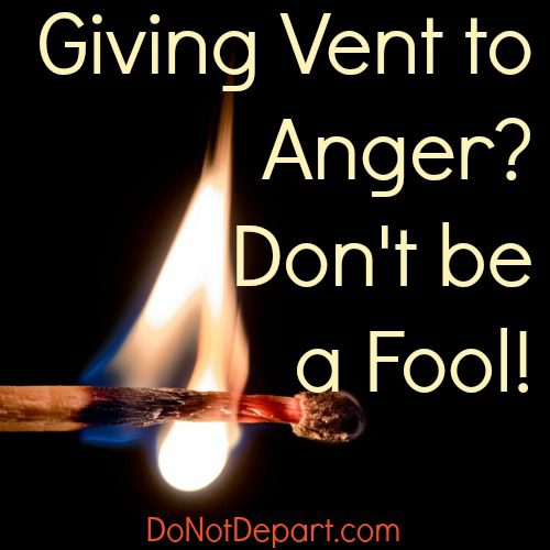 Giving Vent to Anger? Don't be a Fool! Read more about the sin of anger and the sweet remedy of God's grace at DoNotDepart.com