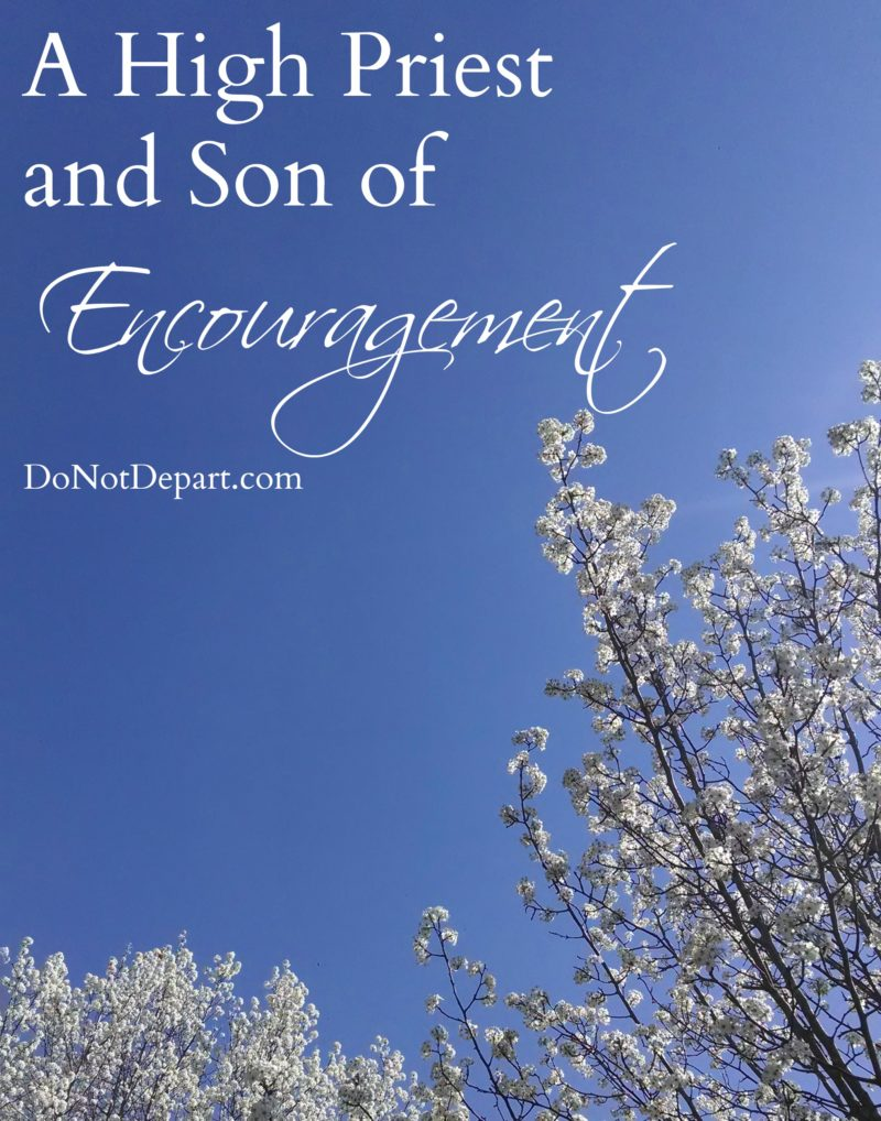 A High Priest and Son of Encouragement - a look at Hebrews 5:7-10 - DoNotDepart.com
