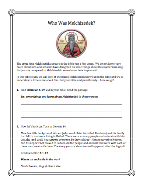 Who Was Melchizedek? (A Mini BIble Study for Kids) - download this free printable bible study from DoNotDepart.com