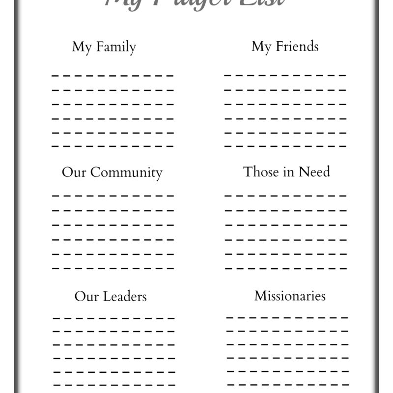 Printable Prayer Sheet for Children