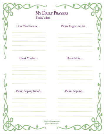 Print our free daily prayer sheet for children. Create a prayer journal and encourage your child to have a daily conversation with God.