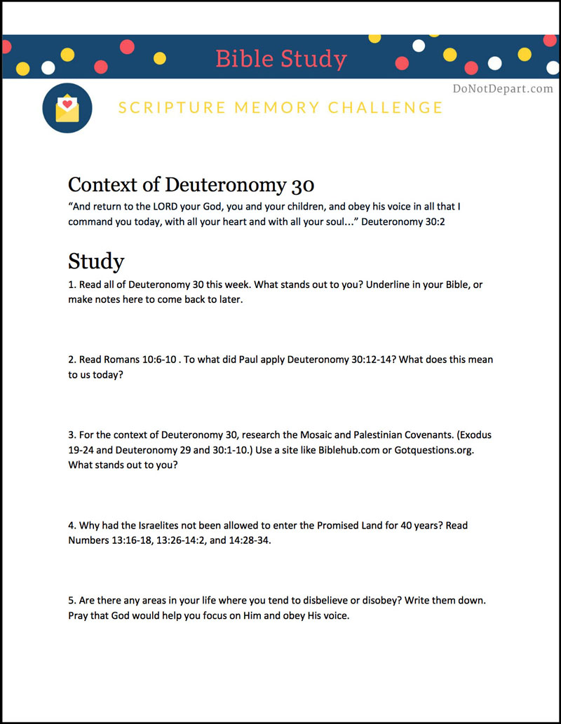 Deuteronomy 30 Bible Study Context
