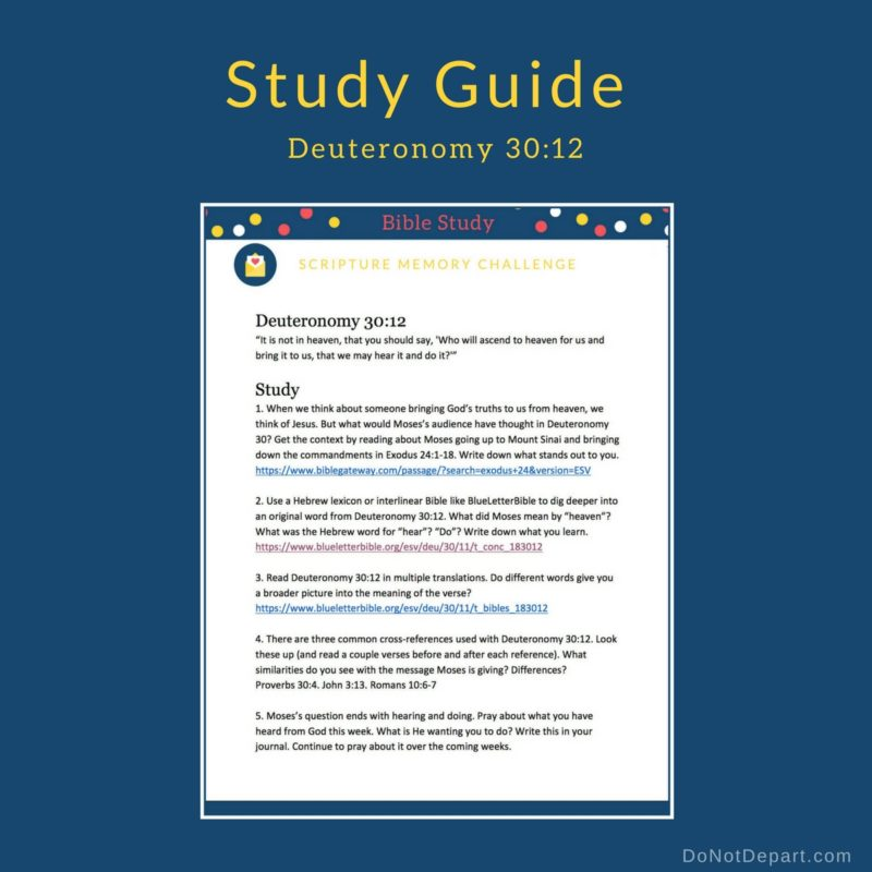 Who Will Get It for Us? Study Guide for Deuteronomy 30:12