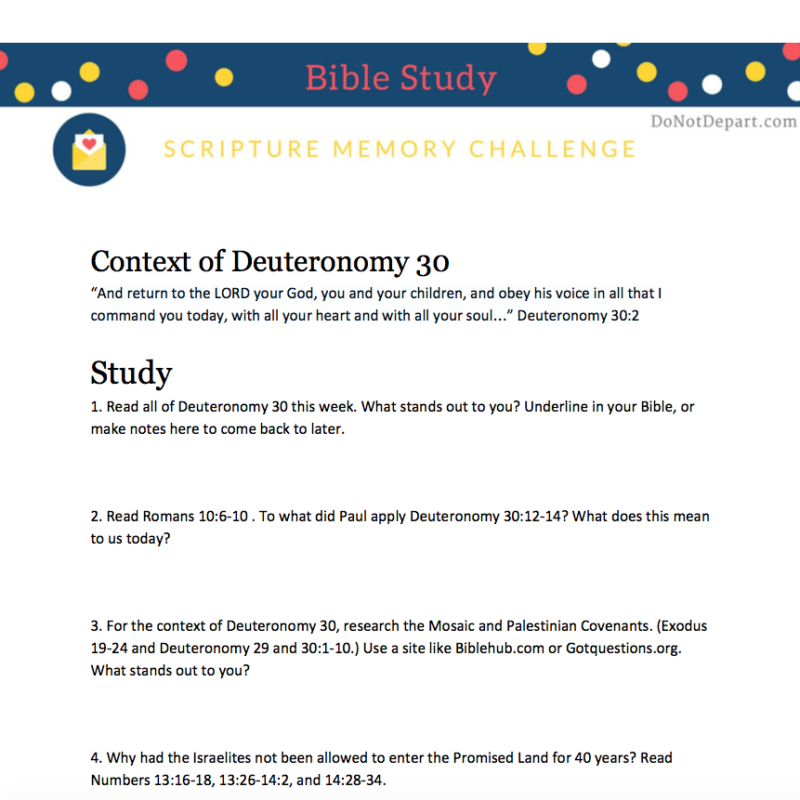The Context of Deuteronomy 30 - Do Not Depart