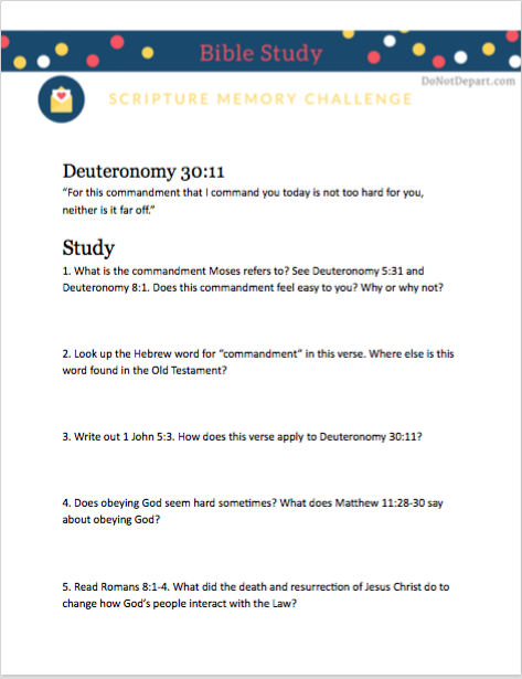 The Invitation: Printable Bible study guide for Deuteronomy 30:11