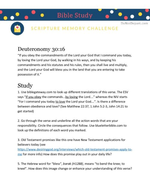 Study Guide Deuteronomy 30-16 - Do Not Depart