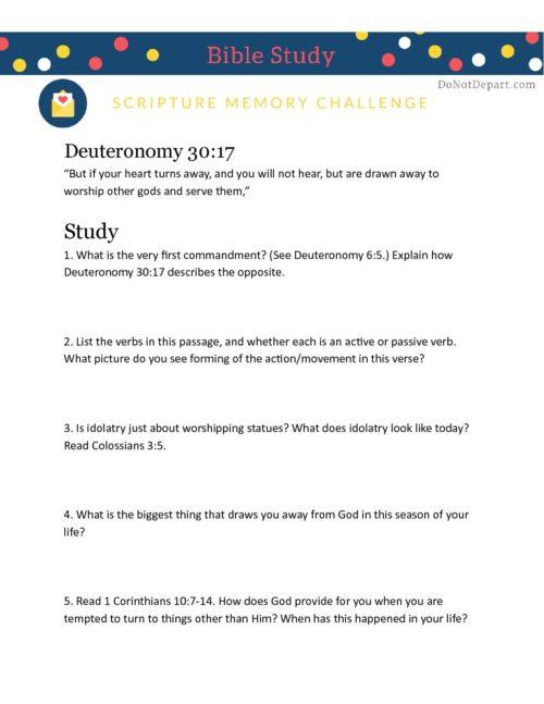 Deuteronomy 30-17 worksheet - Do Not Depart