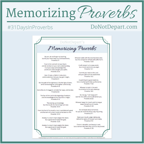Memorize Proverbs with your kids using this printable list of simple verses.